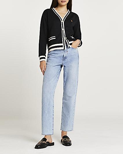 Black scallop trim sweat cardigan