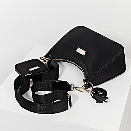 Black scoop shoulder bag with mini pouchette