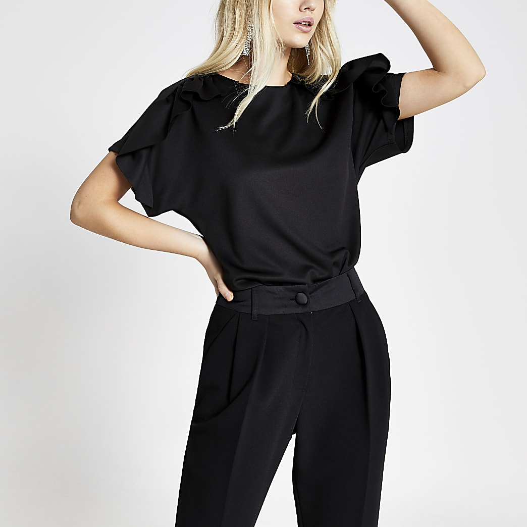 Black scuba frill short sleeve top