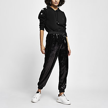 Black sequin cuffed joggers