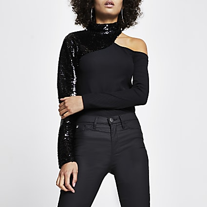 Black sequin cut out long sleeve top