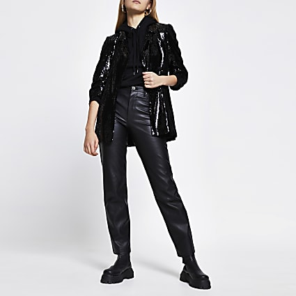 Black sequin embellished blazer