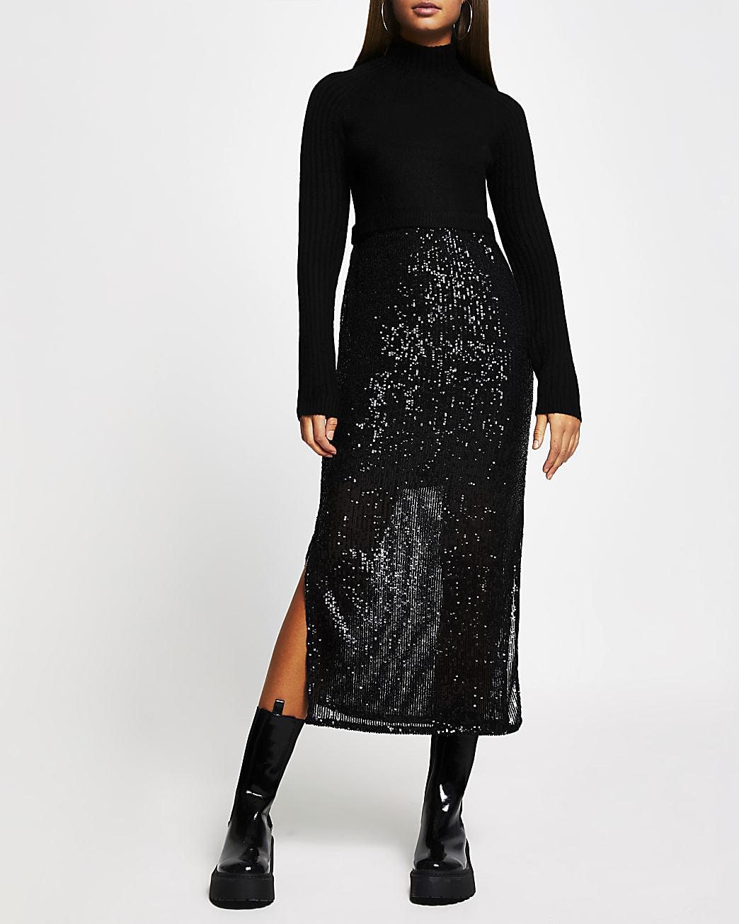 Black sequin jumper dress