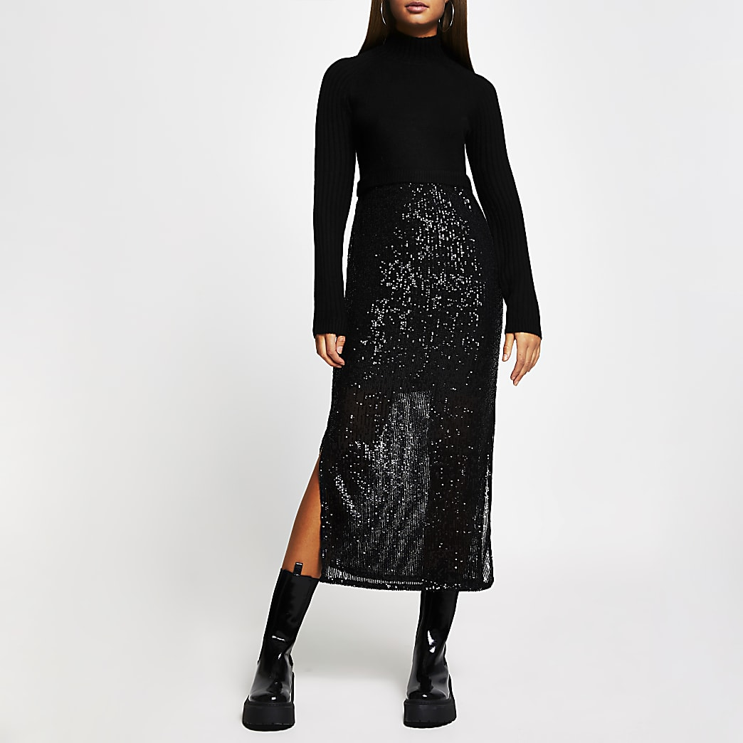 Black sequin jumper dress