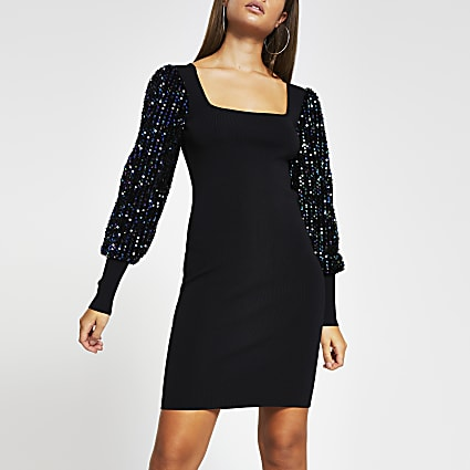 Black sequin long sleeve mini dress