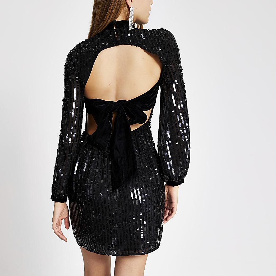 Black sequin open back high neck mini dress