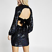 Black sequin open back tie waisted dress