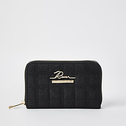 Black sequin quilted RI zip around mini purse