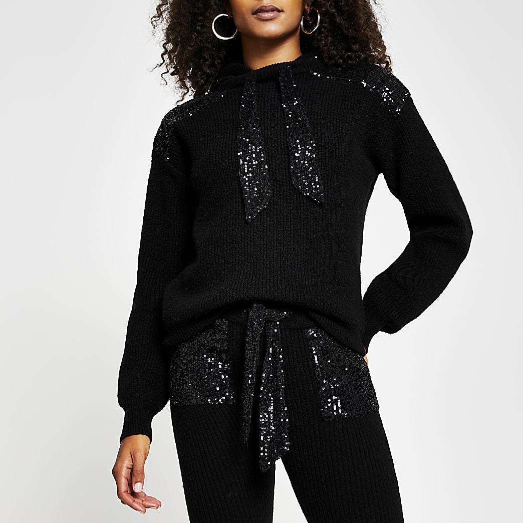 Black sequin ribbed hoodie