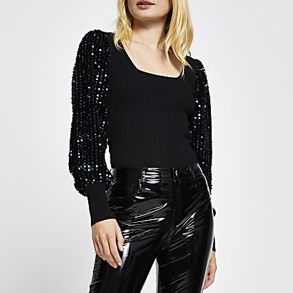 Black sequin sleeve square neck top