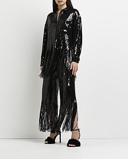 Black sequin tassel trousers