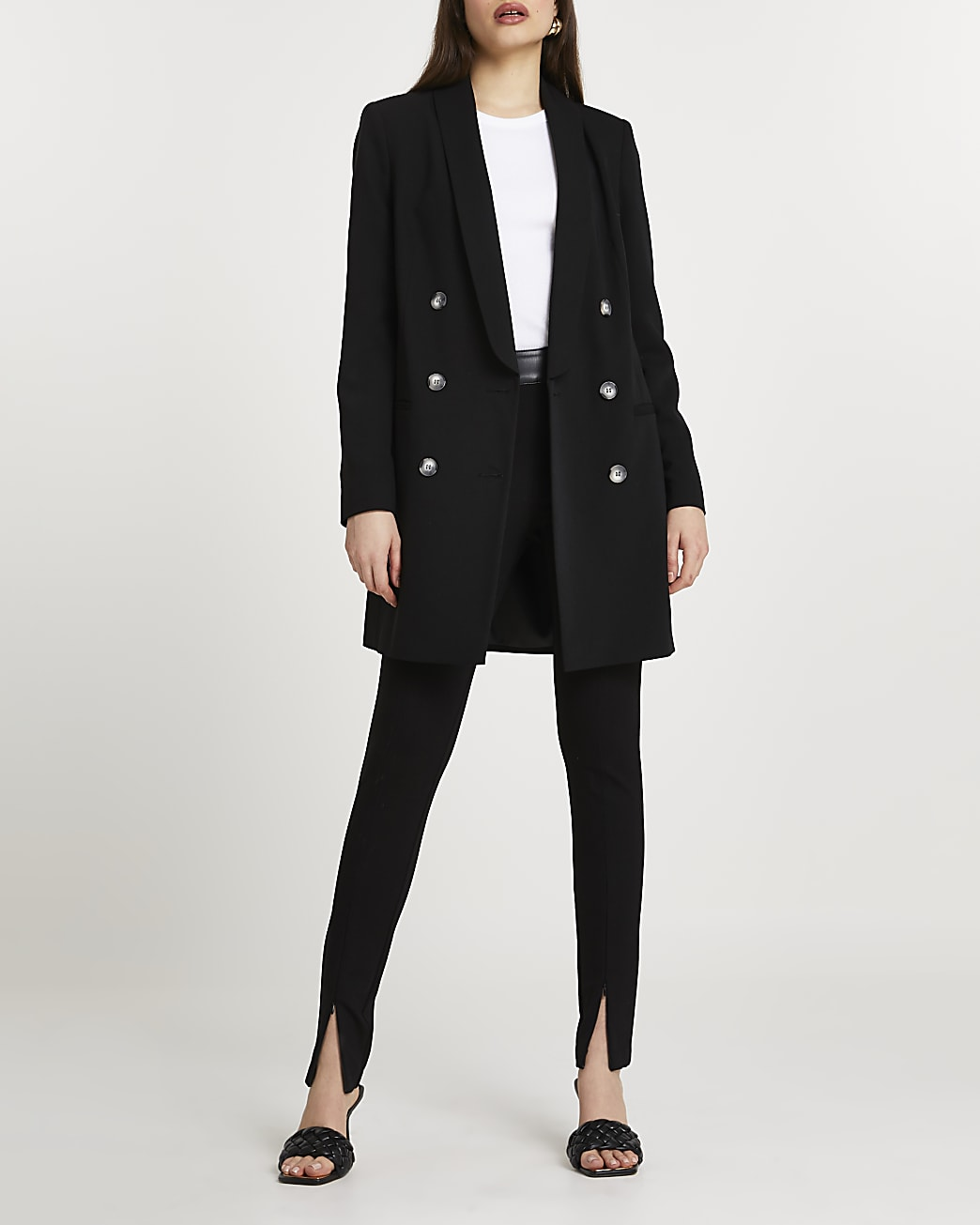 Black shawl collar double breasted coat