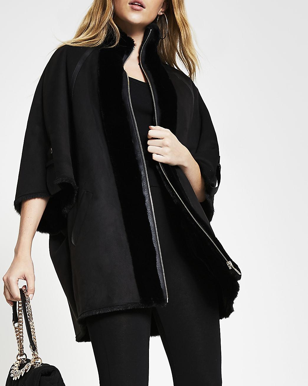 Black shearling faux fur bonded cape