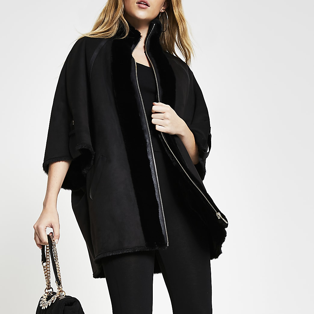 Black shearling faux fur bonded cape