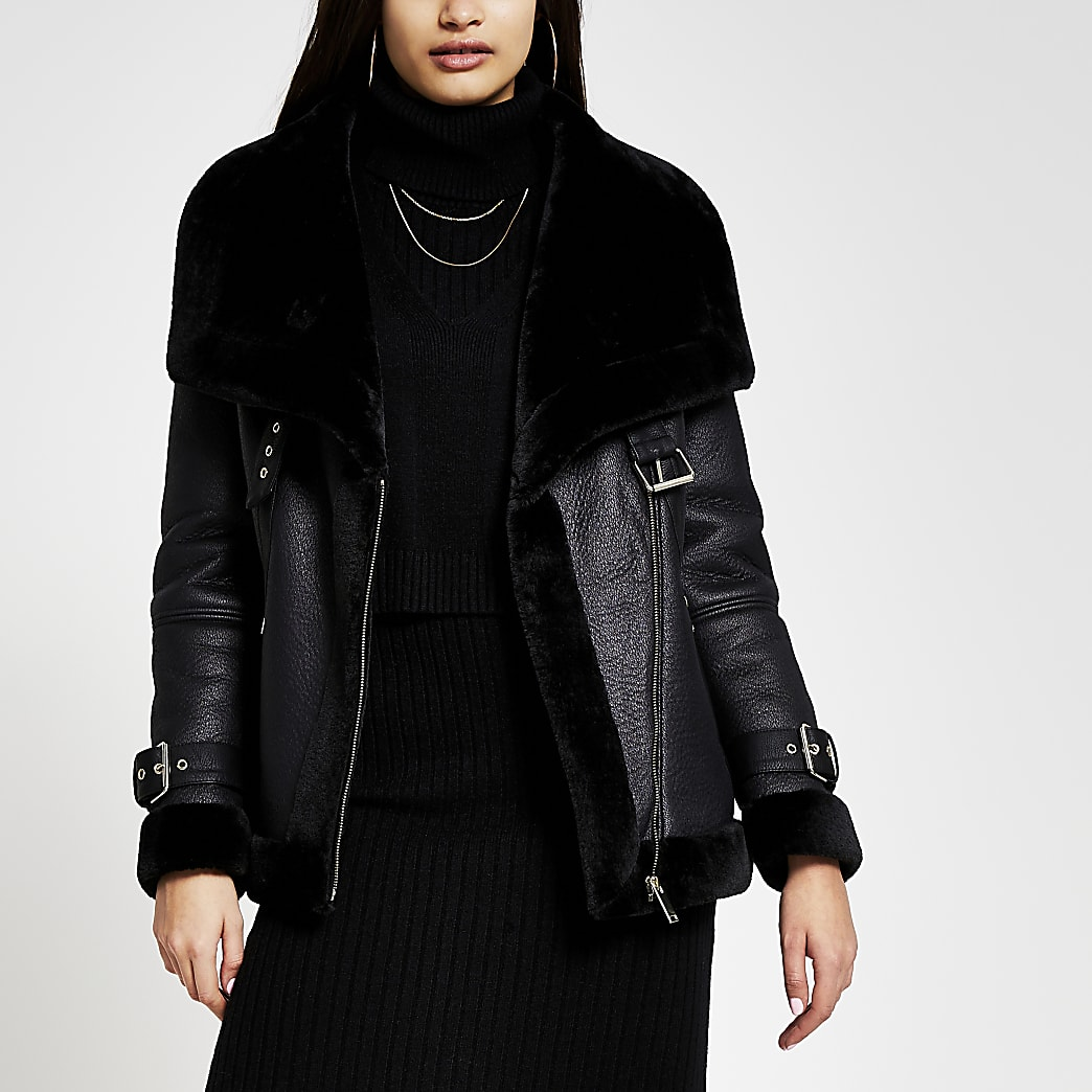 Black shearling faux leather aviator coat