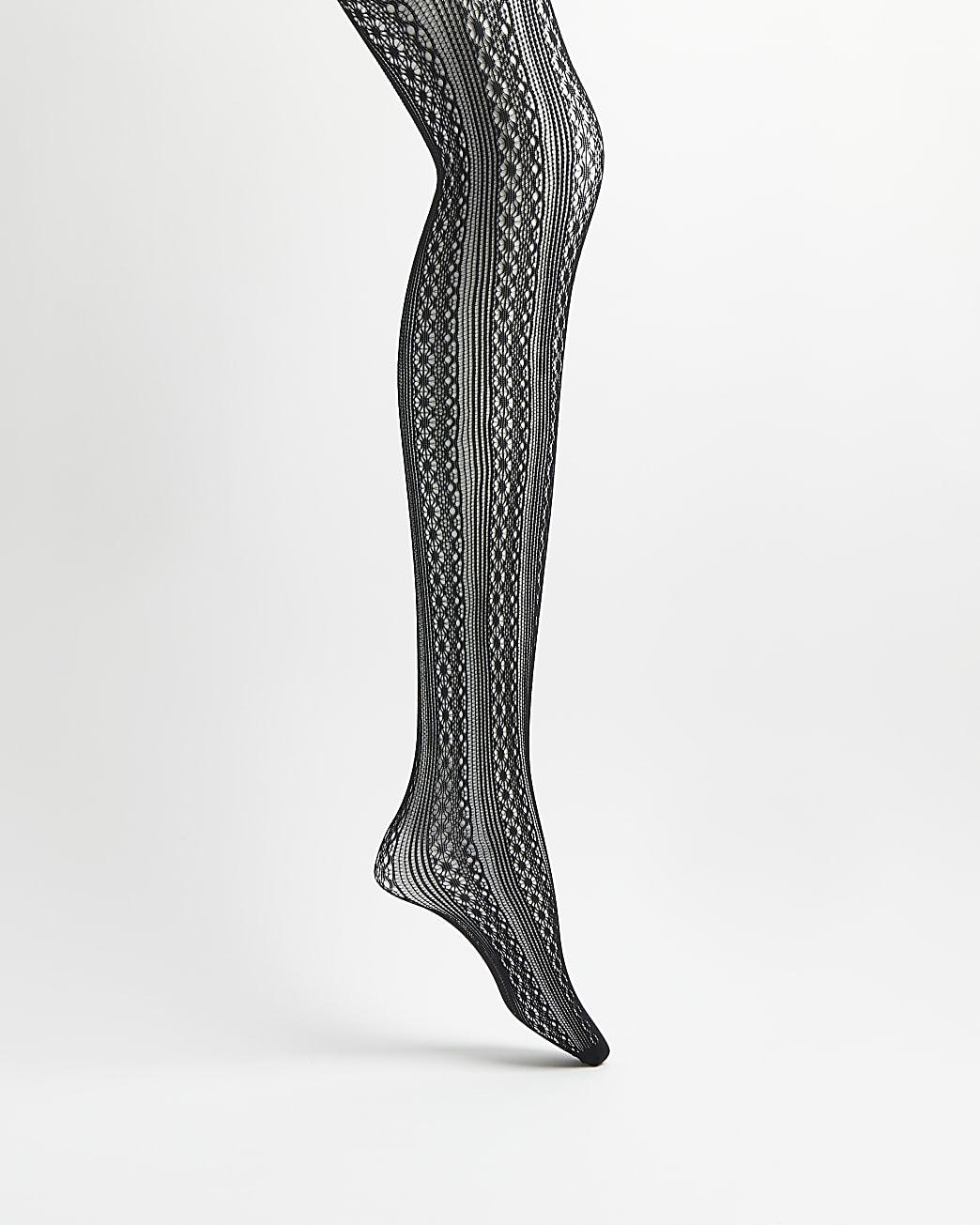 Black sheer cable knit tights