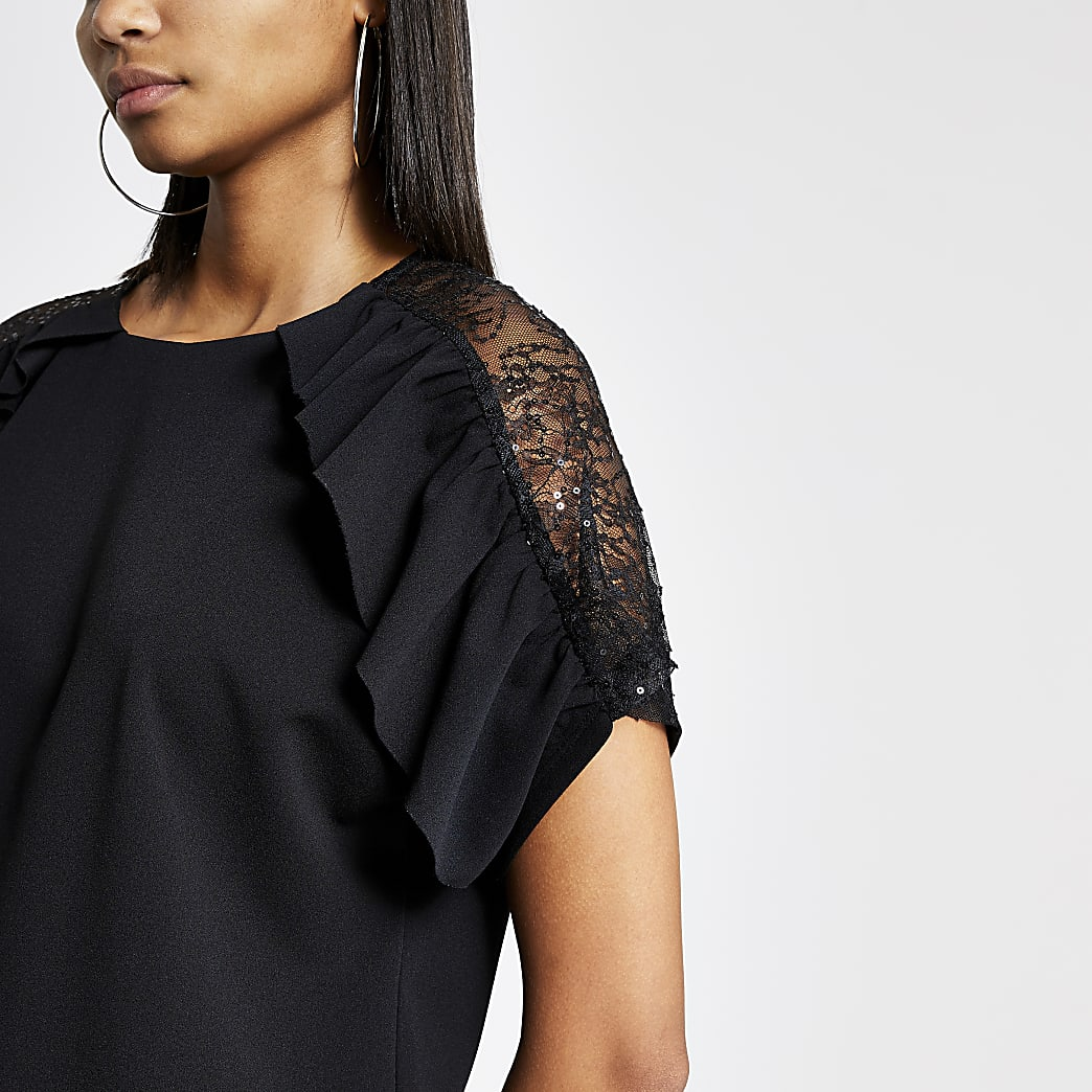 Black sheer lace sleeve frill top