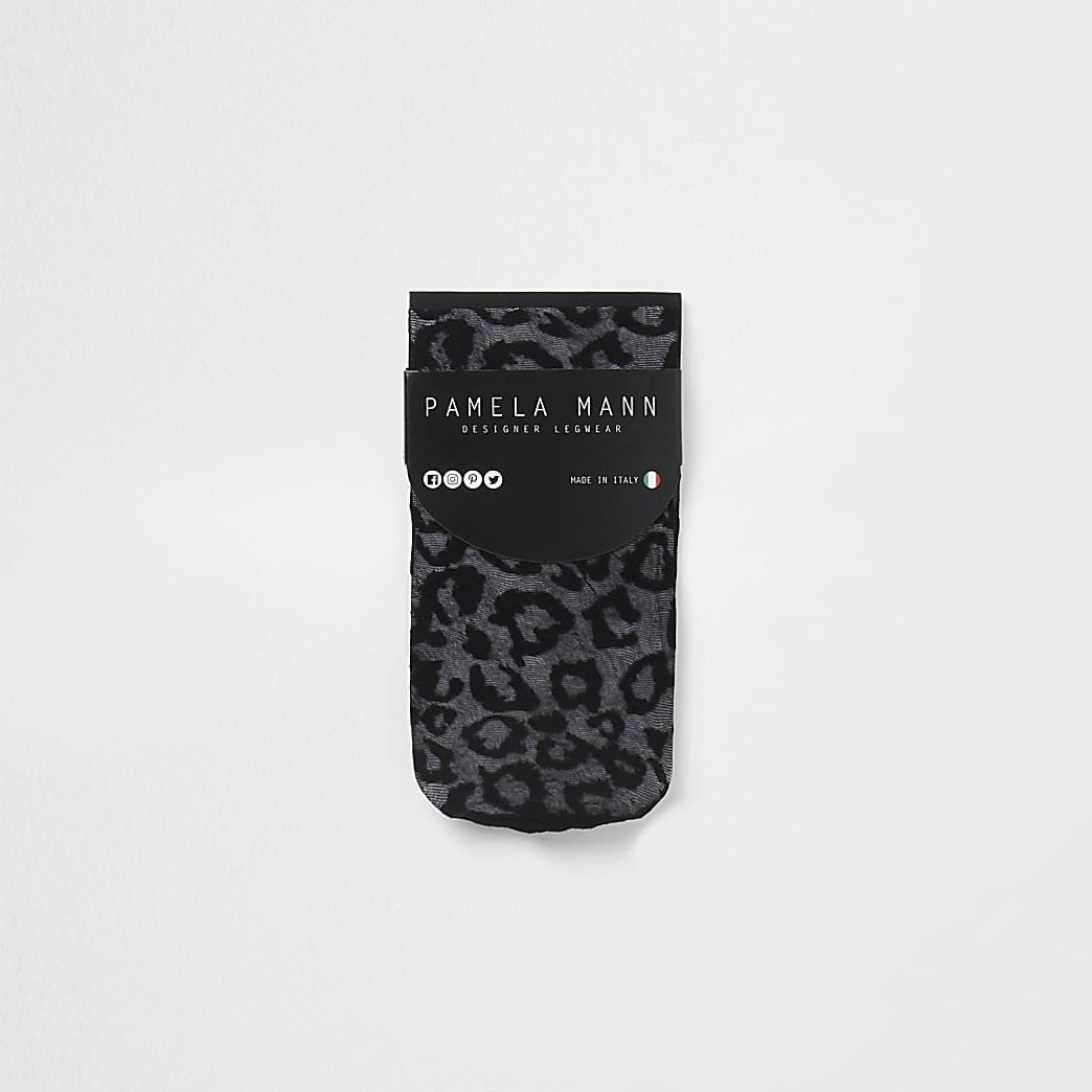 Black sheer leopard ankle socks