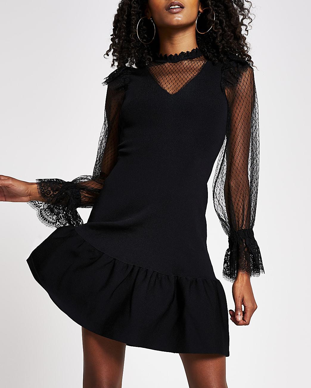 Black Sheer Long Sleeve Knitted dress
