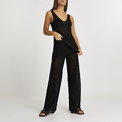Black sheer scallop wide leg trousers