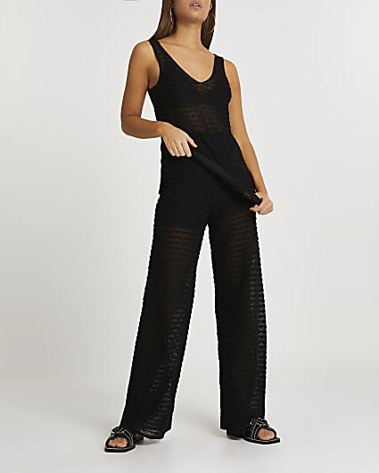 Black sheer scallop wide leg trousers
