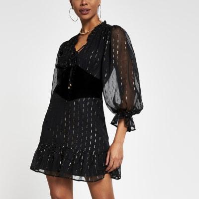 black sheer sleeve corset detail dress  river island