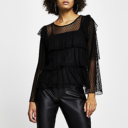Black sheer smock Top