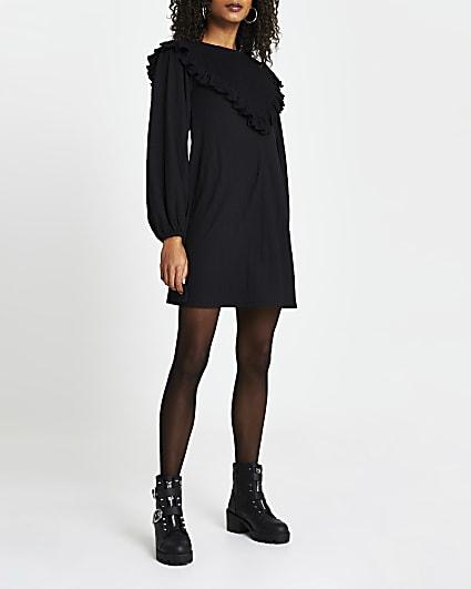 Black shirred frill long sleeve mini dress
