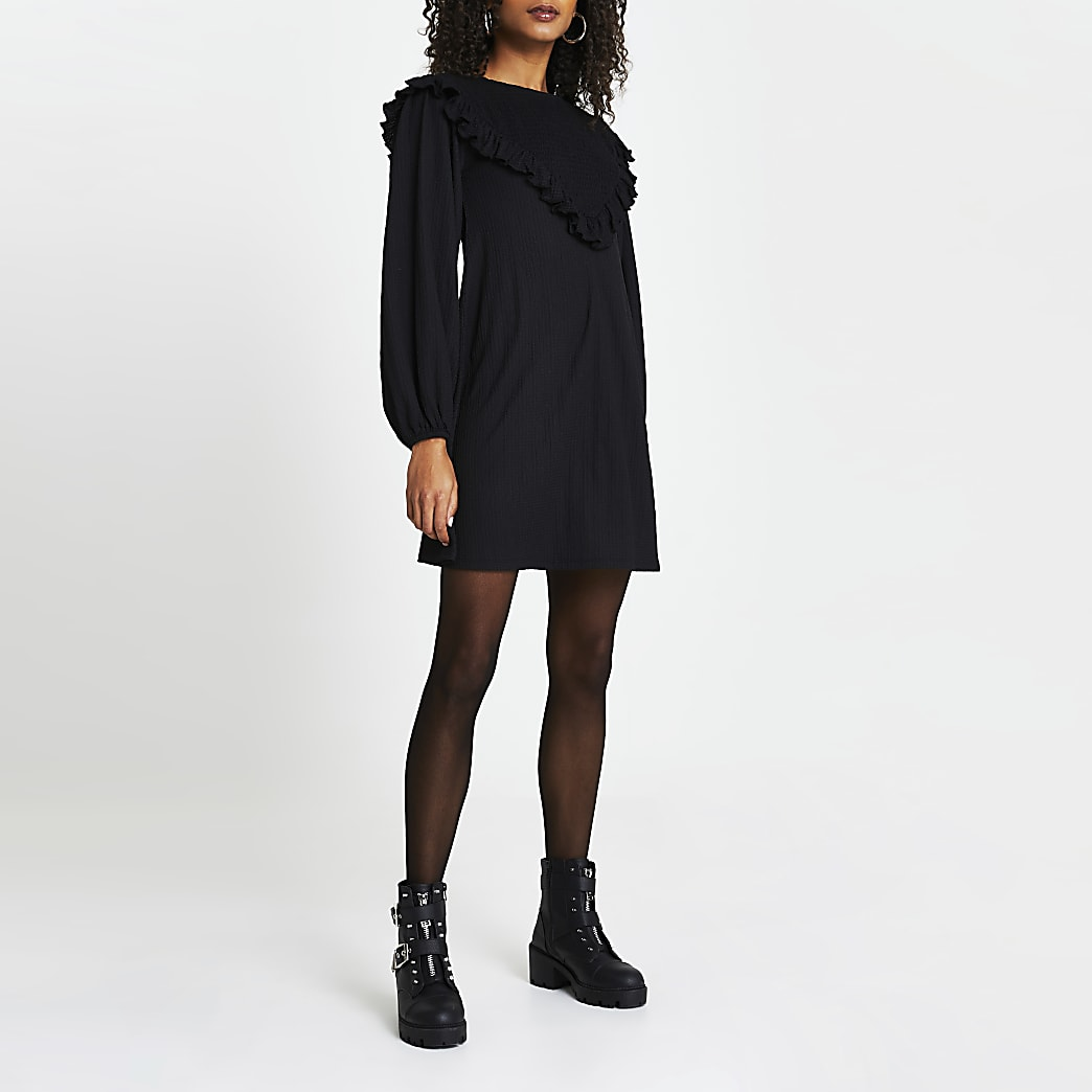 Black shirred frill long sleeve mini dress
