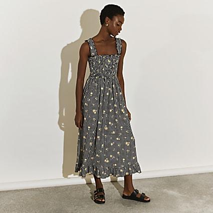 Black shirred gingham midi dress
