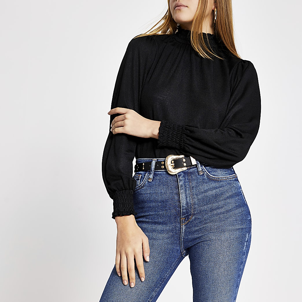 Black shirred high neck top