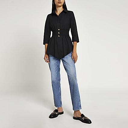 Black shirred shirt