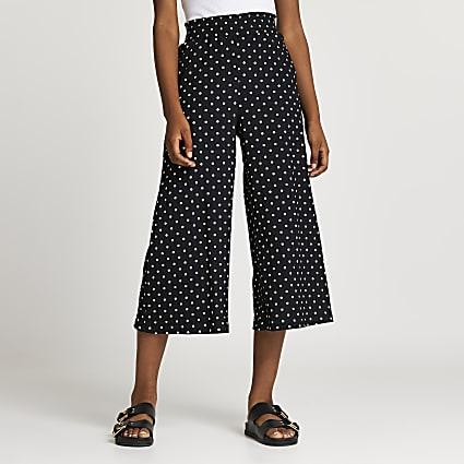 Black shirred spot print culottes