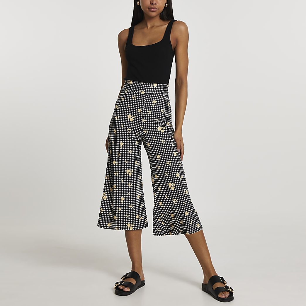 Black shirred waist gingham culotte trousers