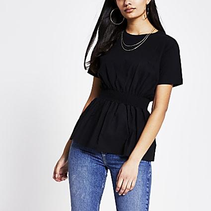 Black shirred waist poplin T-shirt
