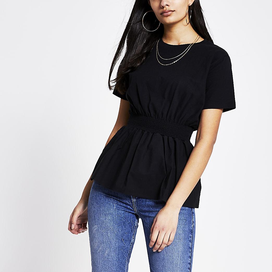 Schwarzes Popeline-T-Shirt mit geraffter Taille