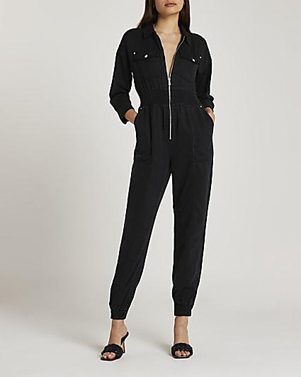 Black shirred zip up jumpsuit