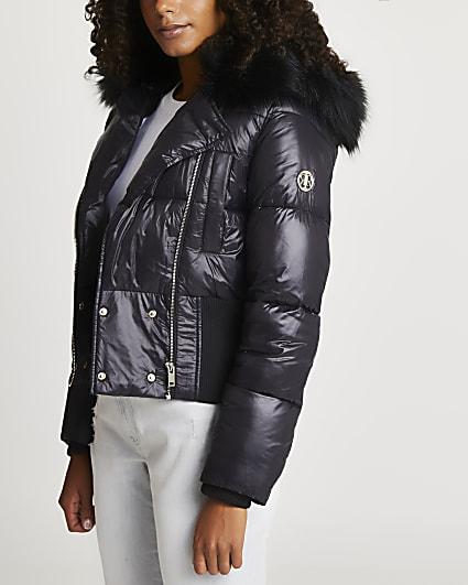 Black short bomber jacket