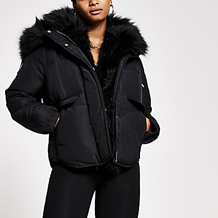 Black short faux fur padded puffer jacket
