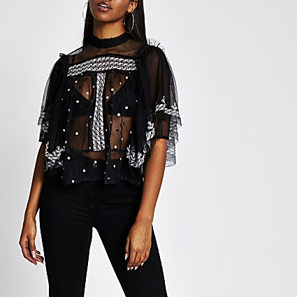 Black short frill sleeve embroidered top
