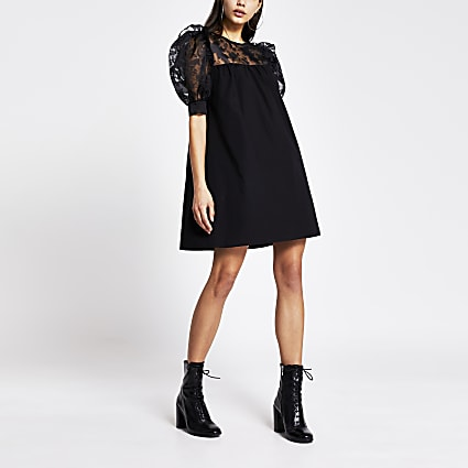 Black short organza puff sleeve mini dress