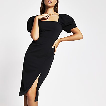 Black short puff sleeve fitted midi dress