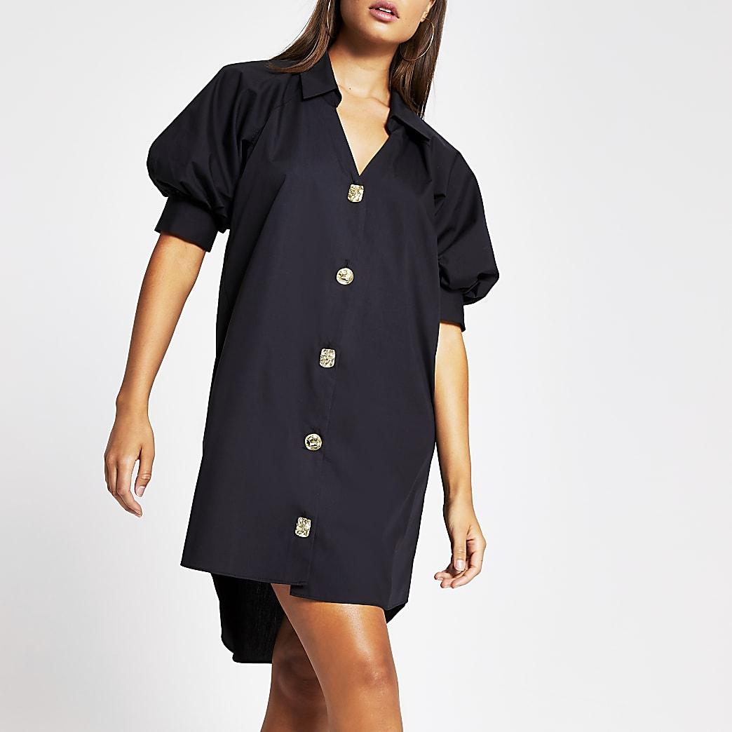 Black short puff sleeve mini shirt dress