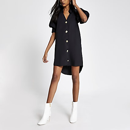 Black short puff sleeve mini shirt dress