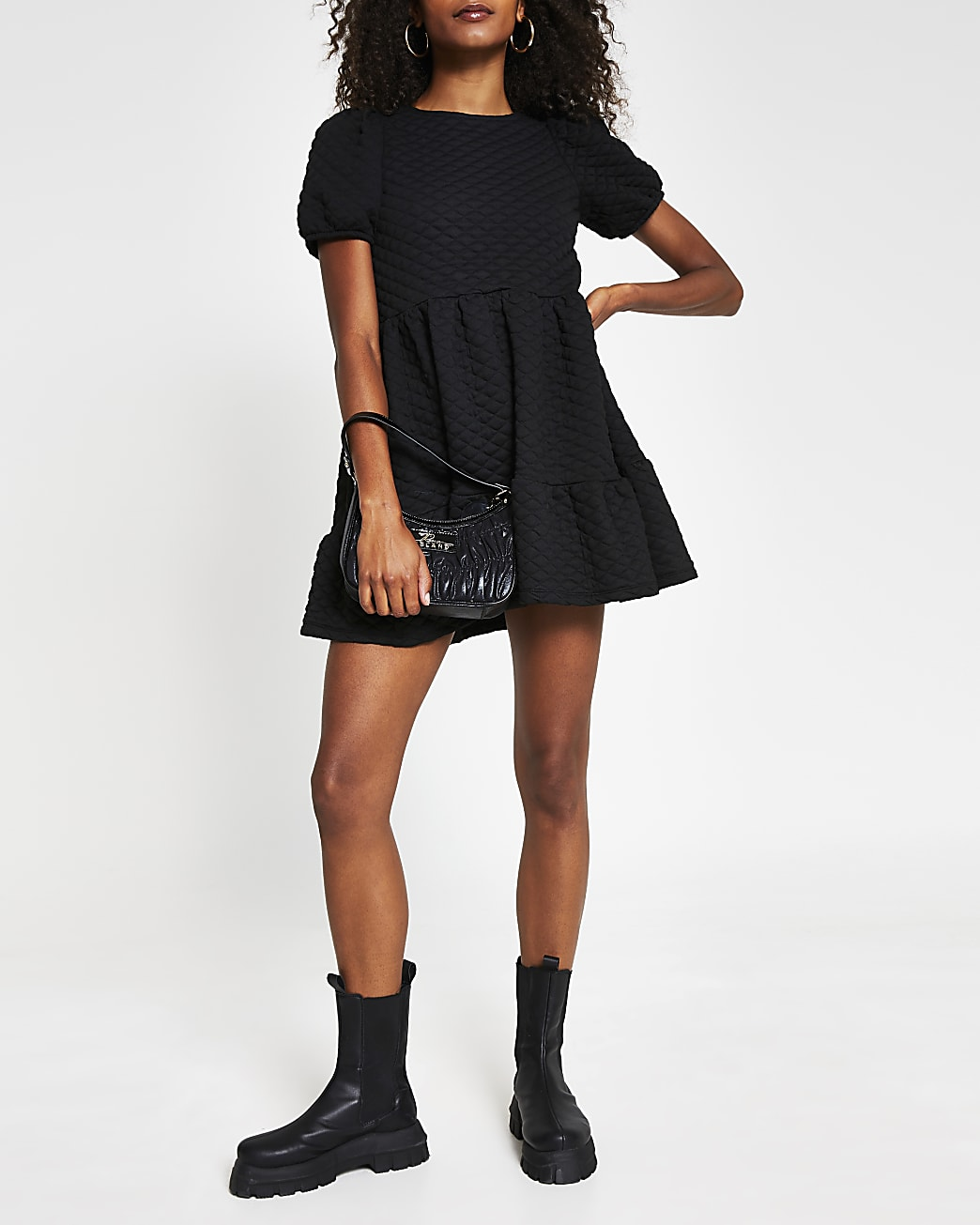 Black short puff sleeve quilted smock dress