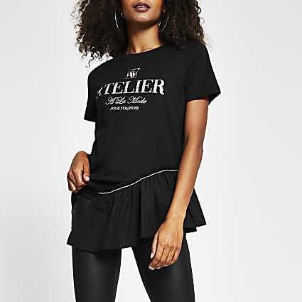 Black short sleeve 'Atelier' frill t-shirt