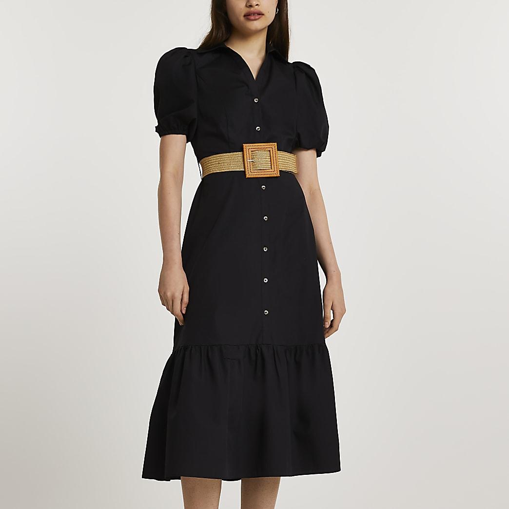Black short sleeve belted midi shirt dress