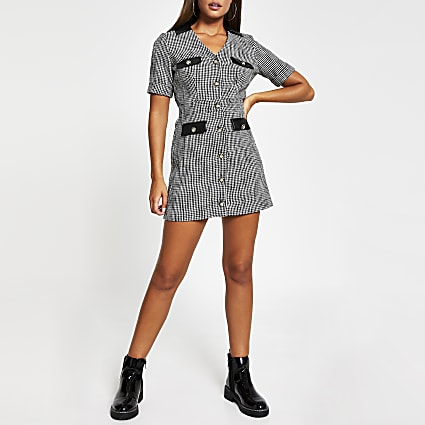 Black short sleeve boucle pocket shirt dress