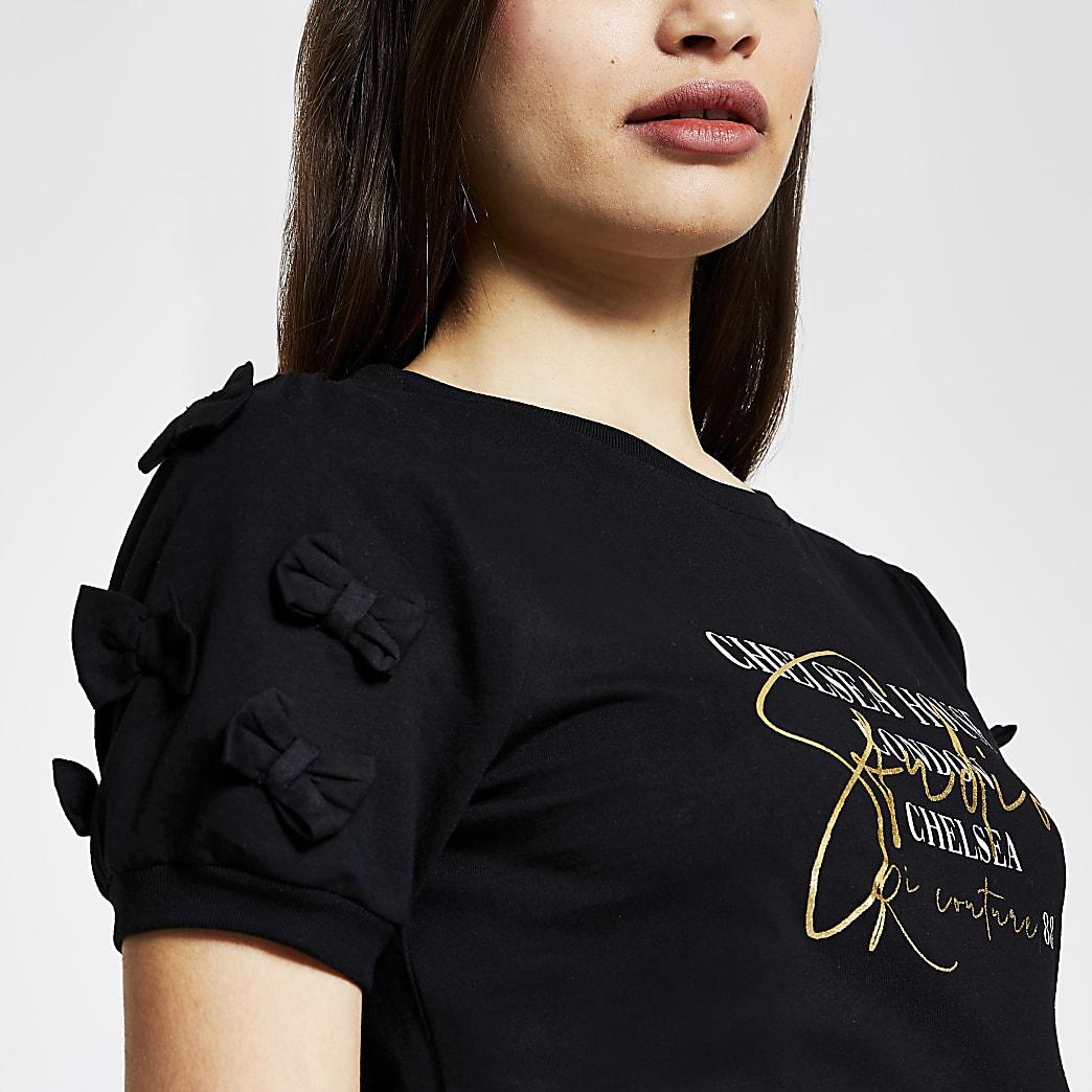 Black short sleeve bow 'London' t-shirt