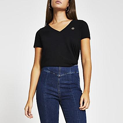 Black short sleeve button detail t-shirt